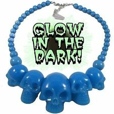 Kreepsville 666 Skull Collection Necklace Blue Glow In The Dark Goth Punk Charm