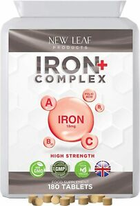 Iron Complex Tablets 18mg Helps Tiredness Fatigue Vegan Supplements 180 Tablets