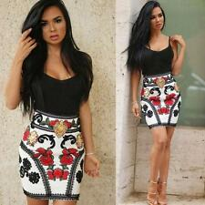 Sexy Women Summer Sleeveless Floral Bandage Condole belt Cocktail Party Dresses