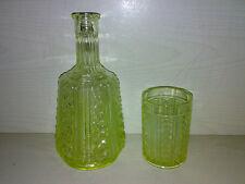Flasche + Trinkglas URANGLAS URAN GLAS  ALT Art Deco ? VASELINE GLASS Old Bottle