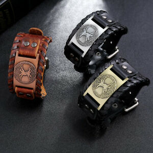 Punk Men Boy Wide Cowhide Leather Braided Bracelet Bangle Wristband Cuff Jewelry