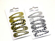 Beautiful Metallic Black Printed Hair Snap Clips Hair Sleepies Lovely Design