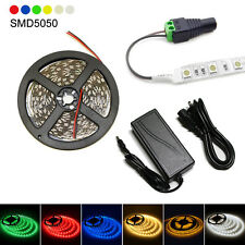 5M 16.4ft 12V SMD 5050 Single Color IP65 300LED Strip Light + 5A Power connector