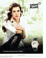 PUBLICITE ADVERTISING 1016  2015  Mont Blanc  montre Boheme avec Ch Casiraghi