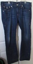 True Religion Mens Straight Blue Jeans Size 36 Inseam 34