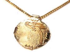 Bijou créateur alliage doré collier pendentif médaillon  Guy Laroche necklace