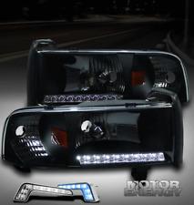 94-01 DODGE RAM TRUCK LED STRIP BLACK CRYSTAL HEAD LIGHTS LAMP W/BLUE DRL CORNER