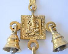 "Ganesha Statue Bells Brass Statue Wall hanging Handmade Exclusive 9.5"""