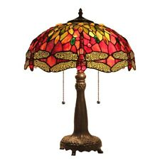 """Tiffany Style Stained Glass Dragonfly 2 Bulb Table Lamp 18"""" Shade"""