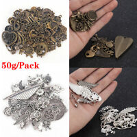 50g/pack Vintage Jewelry Making Mixed Charms Pendants Random Shape DIY Crafts hi