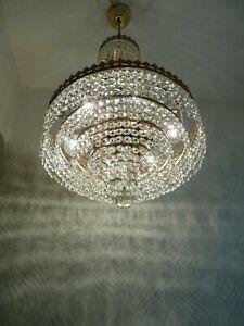 Vintage 6 light Brass and Crystal Old Basket Chandelier
