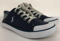 Ralph Lauren Polo Callie Sneakers Navy Blue Canvas Tennis Shoes Kids Youth Sz 3