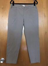 Eileen Fisher Womens Pants M Organic Cotton Spandex Cropped Beige Khaki Chino