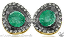 Look 925 Silver Valentine Studs Earring 1.25ct Rose Cut Diamond Emerald Antique