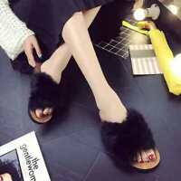 Womens Open Toe Slippers Comfort Memory Foam Sliders Home Outdoor Soft Fur Shoes