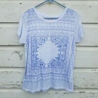 Lucky Brand Womens Top Tee Blouse Size Small Blue Floral Paisley Print NWT