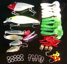 43PCS Fishing Fish Mix Lure Spoon Soft Capuchin maggots Lure Crankbait Minnow bo