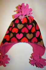 BABY GAP WINTER HAT GIRLS HEARTS 12-24 MONTHS XS/S XS SMALL EARFLAP BROWN PINK