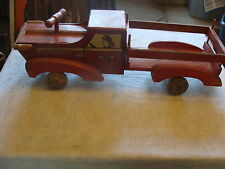 """large Wooden WWII Cass """"Play Boy"""" toys FIRETRUCK aprox 38"""" long RIDE-ON TOY"""