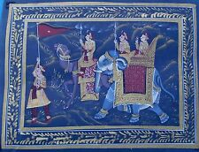 Water color painting of royal king procession beautiful Indian on silk cloth