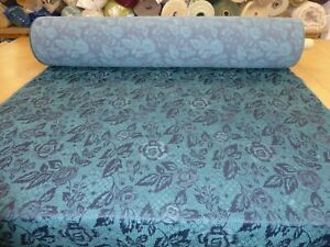 Job Lot - 10m lengths of TEAL & BLUE - Floral Design Chenille Upholstery Fabric