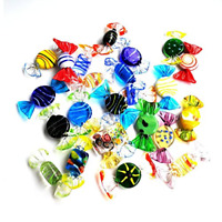 Sumje 24pcs Vintage Murano Style Various Glass Sweets Candy Ornament for Home