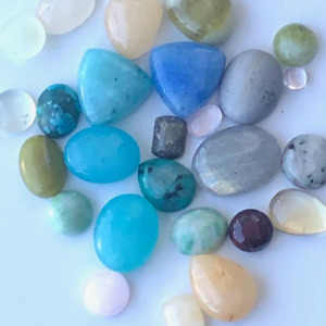 Lot Small Cabochon Stones Assorted Polished Gemstones 100CTW