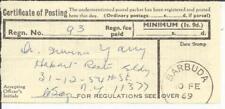 Barbuda CERTIFICATE OF POSTING-Regn.No93 BARBUDA 10/FE/69, scarce