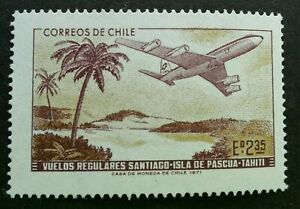 [SJ] Chile Boeing 707 over Easter Island 1971 Aviation Airplane (stamp) MNH