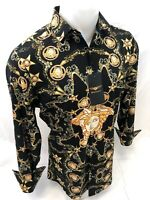 Mens PREMIERE Long Sleeve Button Down Dress Shirt MEDUSA HEAD BLACK GOLD CHAIN 9