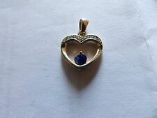 PRETTYGOLD PLATED CRYSTAL SET HEART DROP PENDANT WITH CLEAR & BLUE STONES W81-27