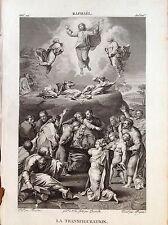 LA TRANSFIGURACIÓN ascensión Jesús Grabado origin. XIX seg. SANTOS RELIGIOSOS