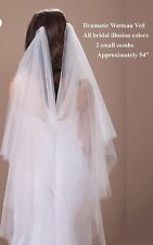 Dramatic Watteau Wedding Bridal Veil on 2 Combs Waltz Length Asst Colors Avail