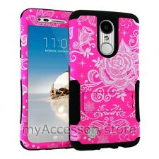 LG Phoenix 3 / LG Fortune Pink Rose Lace Hybrid Rugged Armor Phone Case Cover