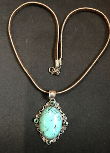 """Signed AF 925 Turquoise Color Pendant On 18"""" Brown Leather Necklace"""
