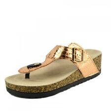 Ladies Womens Slip on Cushioned Footbed Cork Flip Flops Metallic Mules Sandals Gold Uk7 / Eu40 Fashion Low Heel Slide Slippers