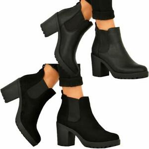 LADIES WOMENS ANKLE CHELSEA BLOCK CHUNKY HIGH HEEL PLATFORM SHOES BOOTS SIZE 3-8