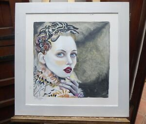 OIL PORTRAIT OF A LADY  LISTED ARTIST CLIVE FREDRIKSSON FREE SHIPPING TO ENGLAND