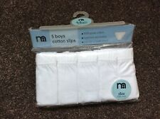 Boys cotton white slips / briefs / pants - 5 in pack, new, age 5-6 years