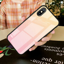 For iPhone 6S 8 7 6 Plus XI XS MAX XR X Tempered Glass Cover Gradient Phone Case