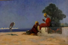 Oil painting dudley hardy the rehersal arab people with bird snake in the desert