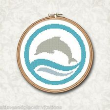 Dolphin Blue Ocean Wave Counted Cross Stitch Pattern
