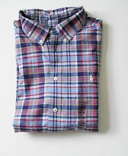 Ralph Lauren Boys Blake Madras Plaid Short Sleeve Shirt Blue Sz M (10-12) - NWT