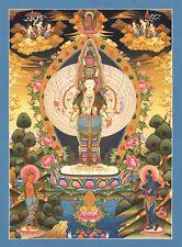 "Thangka Avalokiteshvara chenresig ""finas presión"" tíbet pintura nepal Buda t01"