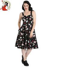 HELL BUNNY VIVA LAS VEGAS DRESS 50s style rockabilly CHERRY CARDS BLACK XS-4XL