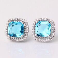 Fashion jewellery! 18k white gold filled aquamarine Charming stud earring