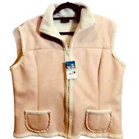 Silver Threads Outerwear Womens Vest Soft Light Pink Faux Suede Zip Medium
