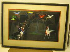 Mid Century Oil on Cloth Painting by H. MOUKOKO Nigerian Artist CRANES & HUNTER!