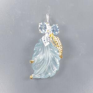 Handmade Aquamarine Pendant Silver 925 Sterling  /NP13854