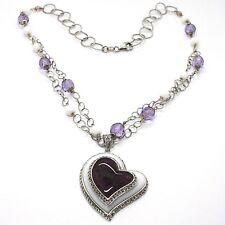 Halskette Silber 925, Amethyst, Achat Weiß, Herz Anhänger, Kette Zwei Reihen